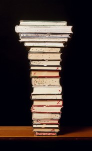 Spotted Books. (Book Stack Poem). Colour Photograph. 27.5 X 38""